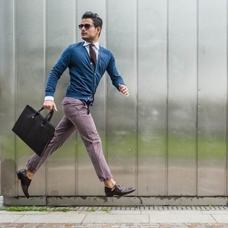 How to wear: dark brown leather double monks, purple chinos, white dress shirt, blue cardigan