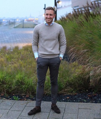 How to wear: dark brown suede tassel loafers, charcoal chinos, light blue dress shirt, grey crew-neck sweater