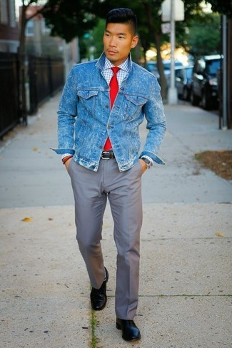 How to wear: black leather derby shoes, grey chinos, white check dress shirt, blue denim jacket