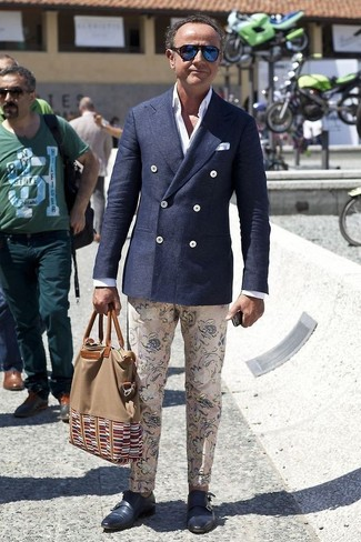 How to wear: navy leather double monks, beige floral chinos, white dress shirt, navy wool double breasted blazer
