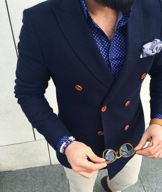 How to wear: light violet paisley pocket square, white chinos, blue polka dot dress shirt, navy wool double breasted blazer