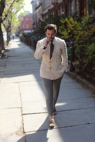 How to wear: brown leather boat shoes, grey chinos, white dress shirt, beige double breasted blazer