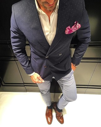 How to wear: tobacco leather monks, grey chinos, white dress shirt, black polka dot double breasted blazer