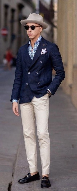 How to wear: black leather loafers, beige chinos, blue floral dress shirt, navy double breasted blazer