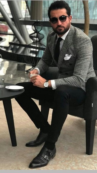 How to wear: black leather double monks, black chinos, white dress shirt, grey plaid double breasted blazer