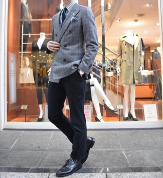 How to wear: black leather derby shoes, black chinos, white and blue vertical striped dress shirt, grey plaid double breasted blazer