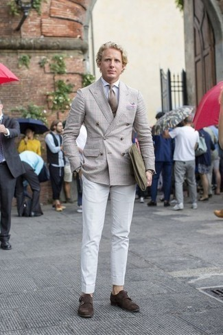 How to Wear a Tan Tie For Men: Go for something sharp yet trendy with a beige double breasted blazer and a tan tie. Complement this look with dark brown suede double monks to make a traditional getup feel suddenly fun and fresh.
