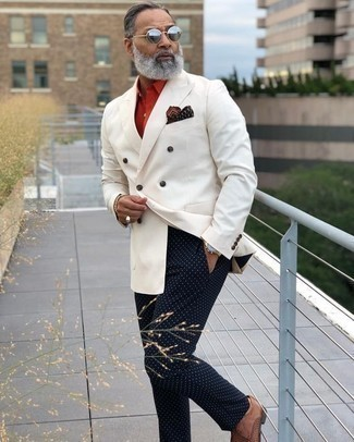 How to Wear a White Double Breasted Blazer For Men: Dress in a white double breasted blazer and navy polka dot chinos for a dapper ensemble. If you want to immediately step up your ensemble with shoes, why not throw a pair of brown woven leather derby shoes in the mix?
