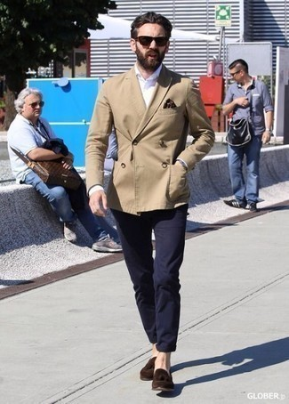 How to Wear a Double Breasted Blazer For Men: If the setting calls for a refined yet cool outfit, you can easily go for a double breasted blazer and navy chinos. Complement your look with dark brown suede tassel loafers to effortlessly ramp up the classy factor of any look.
