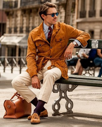 How to wear: tobacco suede tassel loafers, beige chinos, white and navy vertical striped dress shirt, tobacco suede field jacket