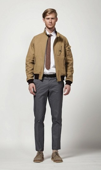 How to wear: brown suede derby shoes, charcoal chinos, white dress shirt, tan harrington jacket