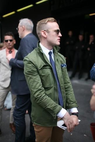 How to wear: navy tie, tobacco chinos, white dress shirt, dark green military jacket