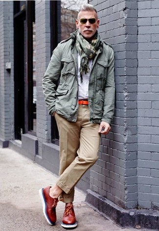 Military Jacket With Drawstring In Khaki
