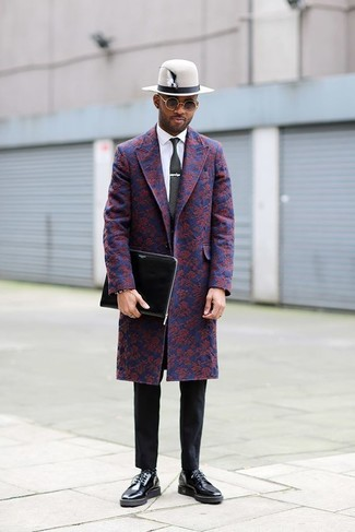How to wear: black leather derby shoes, black chinos, white dress shirt, navy floral overcoat