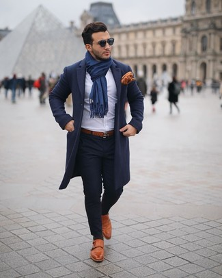 How to Wear a Navy Scarf For Men: A navy overcoat and a navy scarf are among the crucial elements in any gent's well-coordinated casual collection. Why not take a more refined approach with footwear and add tobacco leather double monks to the mix?