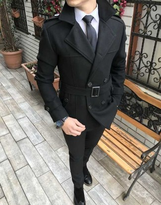 How to wear: black suede chelsea boots, black chinos, white dress shirt, black pea coat