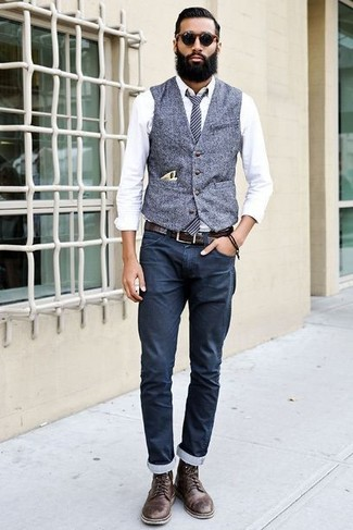 How to wear: dark brown leather casual boots, navy chinos, white dress shirt, grey wool waistcoat