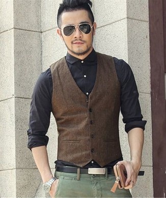 How to wear: black leather belt, green chinos, black dress shirt, dark brown waistcoat