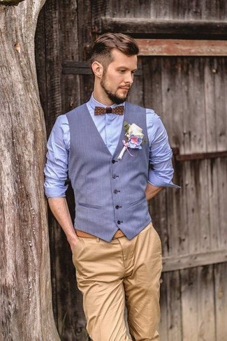 How to Wear a Light Blue Waistcoat: A light blue waistcoat and khaki chinos are a polished combination that every modern gent should have in his sartorial collection.