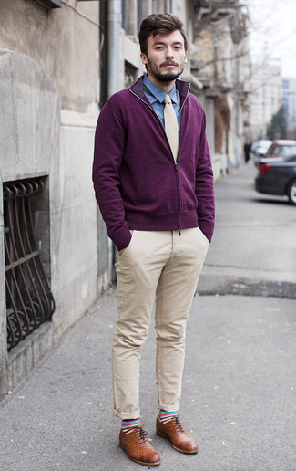 How to wear: brown leather brogues, beige chinos, blue chambray dress shirt, dark purple zip sweater