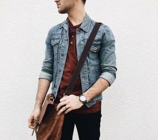 How to wear: brown leather messenger bag, black chinos, burgundy henley shirt, blue denim jacket