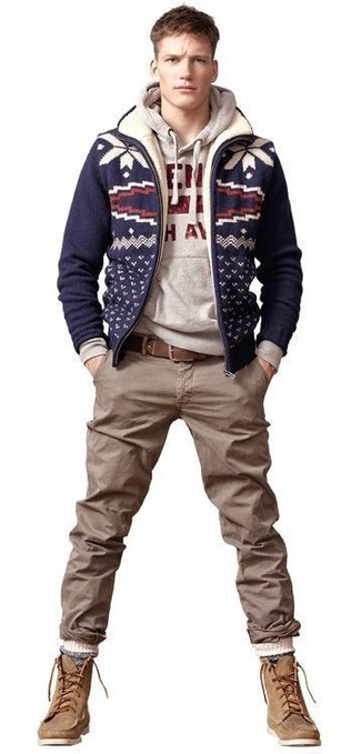 How to wear: tan suede casual boots, brown chinos, grey print hoodie, navy knit wool bomber jacket