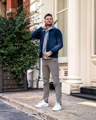 Men's White Low Top Sneakers, White and Black Gingham Chinos, Grey Hoodie, Navy Bomber Jacket