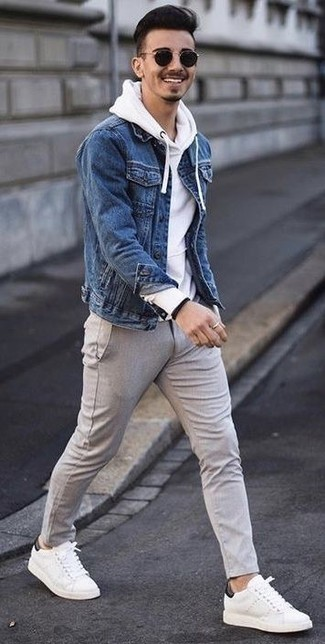 How to wear: white leather low top sneakers, grey wool chinos, white hoodie, blue denim jacket