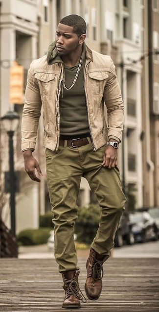 How to wear: brown leather casual boots, olive chinos, olive hoodie, beige denim jacket