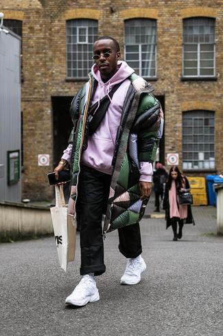 How to wear: black fanny pack, black chinos, pink hoodie, dark green puffer coat