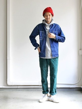 How to wear: white leather low top sneakers, teal chinos, grey hoodie, blue denim shirt jacket