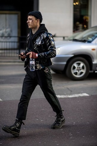 How to Wear a Black Hoodie For Men: If it's ease and practicality that you're seeking in an outfit, team a black hoodie with black chinos. For something more on the daring side to complete this look, introduce a pair of black leather work boots to the mix.