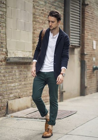 How to wear: brown leather derby shoes, dark green chinos, white long sleeve henley shirt, navy wool blazer