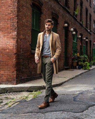 How to wear: brown leather casual boots, olive chinos, grey long sleeve henley shirt, camel overcoat