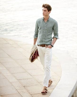 How to wear: tan leather sandals, beige chinos, mint linen long sleeve shirt, beige barn jacket