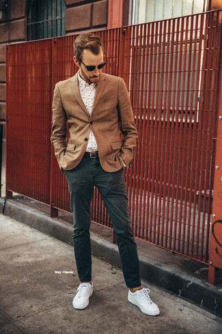 How to wear: white plimsolls, dark green chinos, beige floral long sleeve shirt, brown wool blazer