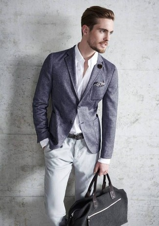 How to wear: black canvas tote bag, grey chinos, white long sleeve shirt, grey blazer