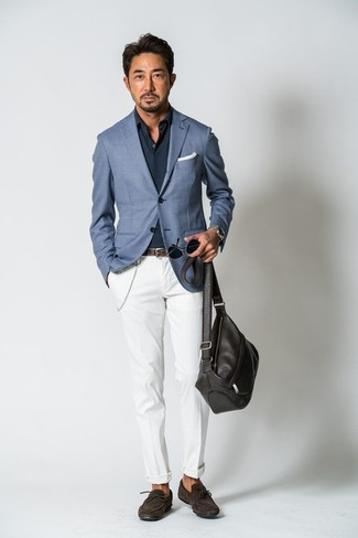 How to wear: dark brown suede driving shoes, white chinos, navy long sleeve shirt, blue blazer