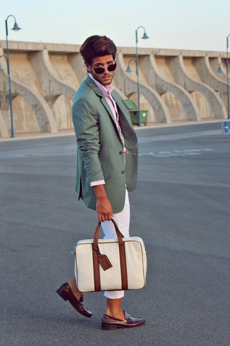 How to wear: burgundy leather loafers, white chinos, pink long sleeve shirt, teal blazer