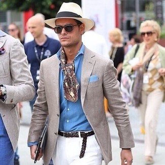 How to wear: beige straw hat, white chinos, light blue chambray long sleeve shirt, beige blazer
