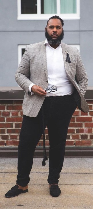 How to wear: black suede tassel loafers, black chinos, white long sleeve shirt, grey plaid blazer