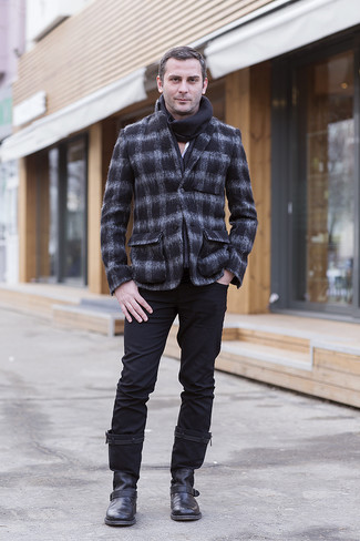 How to wear: black leather chelsea boots, black chinos, white long sleeve shirt, charcoal check wool blazer