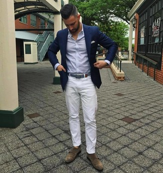 How to wear: brown suede double monks, white chinos, light blue print long sleeve shirt, navy blazer