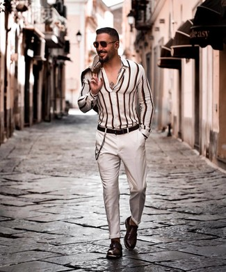 How to wear: dark brown leather double monks, white chinos, white vertical striped long sleeve shirt, beige blazer