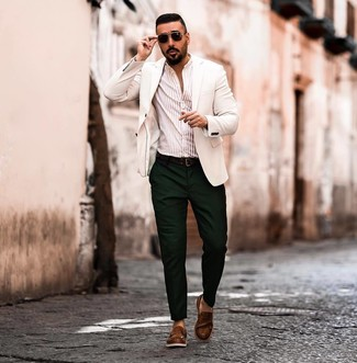 How to wear: brown leather loafers, dark green chinos, beige vertical striped long sleeve shirt, white blazer