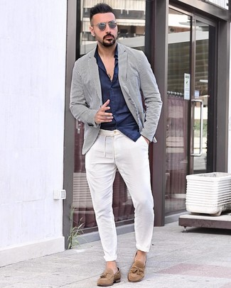 Men's Tan Suede Tassel Loafers, White Chinos, Navy Long Sleeve Shirt, White and Navy Vertical Striped Blazer