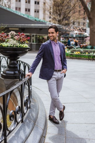 How to wear: dark brown leather loafers, grey chinos, purple gingham long sleeve shirt, navy blazer