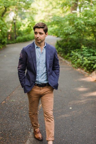 How to wear: brown leather loafers, khaki chinos, light blue long sleeve shirt, navy cotton blazer