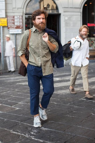 How to Wear Grey Athletic Shoes For Men: A navy blazer and navy chinos are among those wear-anywhere-anytime items that have become the fundamental elements in any gentleman's arsenal. Infuse a more casual finish into this look by sporting grey athletic shoes.
