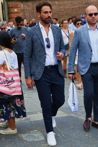 How to Wear Navy Sunglasses For Men: If you prefer bold casual combos, then you'll love this combination of a navy tweed blazer and navy sunglasses. To give your overall look a more polished vibe, add white low top sneakers to the equation.
